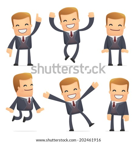 set of advisor character in different interactive  poses - stock vector