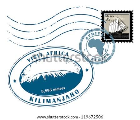 Set of Africa post stamp symbols, vector illustration - stock vector