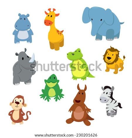 Set of African animals. - stock vector