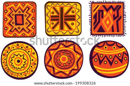 Set of African color ornaments - stock vector