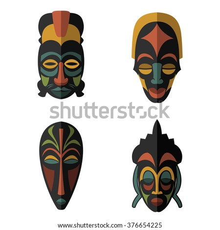 Set African Ethnic Tribal Masks On Stock Vector 376654225 - Shutterstock