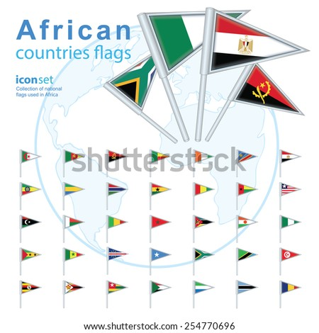 Set of African flags, vector illustration.
