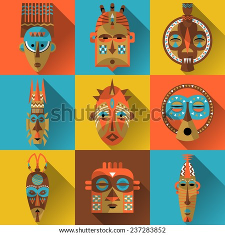 Set of african masks. Vector illustration - stock vector