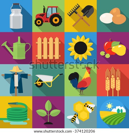 Set of agriculture and farming icons in flat design with long shadows