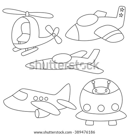 Set of air vehicles plane,rocket Coloring page for kids - stock vector