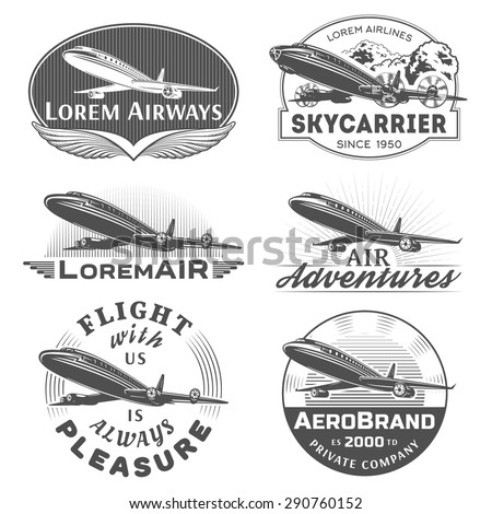 Set of aircraft and air transportation vector labels.Logo templates,badges,emblems,signs black graphic collection.Air voyage,tour,flight promotion and advertising symbols isolated on white background - stock vector