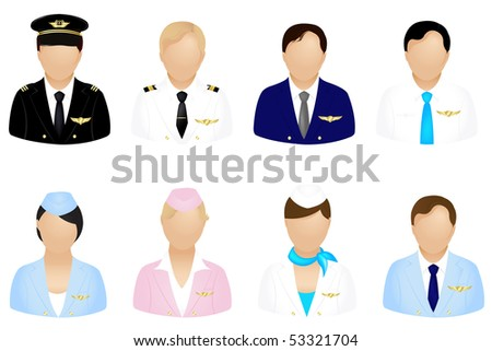 Set Of Aircraft Crew Icons Set, Isolated On White - stock vector