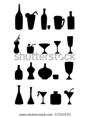 Set of alcohol bottles - stock vector