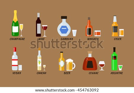 Set of alcohol bottles collection in flat style. Icons vector llustration. Vodka, champagne, wine, whiskey, beer, cognac, absinthe, sambuca, cider.