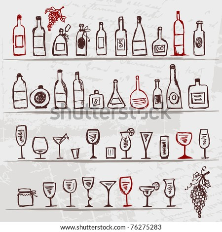 Set of alcohol's bottles and wineglasses on grunge background - stock vector