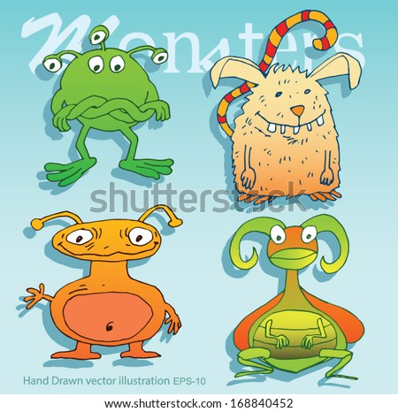 Set of alien and monster with lots of eyes and antennas - hand drawn  - Vector illustration isolated on color background. - stock vector