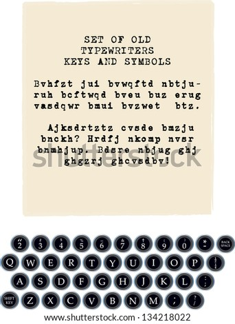 set of all old typewriter keys and place for your text - stock vector