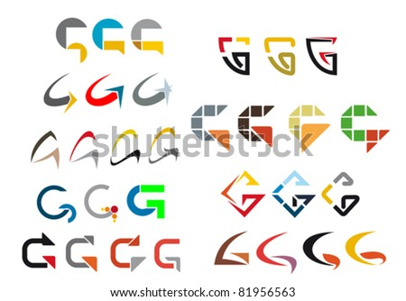 Set of alphabet symbols and elements of letter G, such a logo. Rasterized version also available in gallery - stock vector