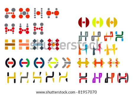 Set of alphabet symbols and elements of letter H, such a logo. Rasterized version also available in gallery - stock vector