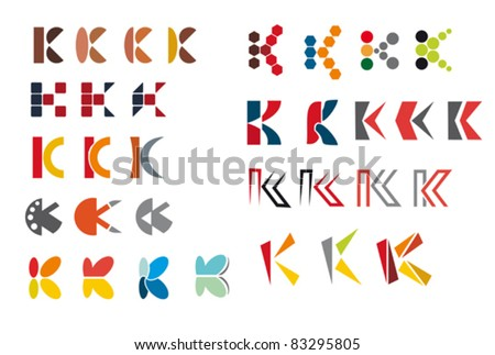 Set of alphabet symbols and elements of letter K - for emblems and logos, such a logo. Rasterized version also available in gallery