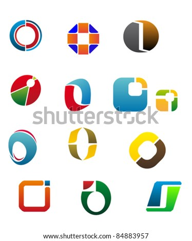 Set Of Alphabet Symbols And Elements Of Letter O, such a logo. Rasterized version also available in gallery