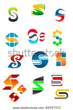 Set of alphabet symbols and elements of letter S. Rasterized version also available in gallery - stock vector