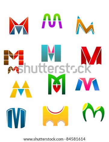 Set of alphabet symbols of letter M, such a logo. Rasterized version also available in gallery - stock vector