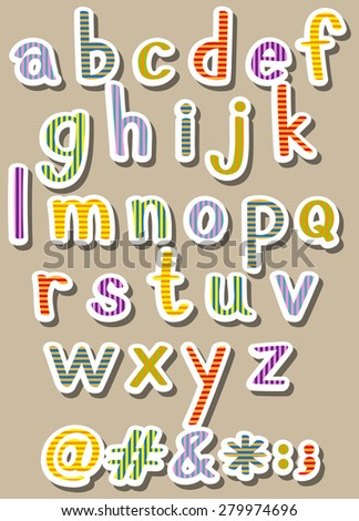 Set of alphabets and symbols with stripes design