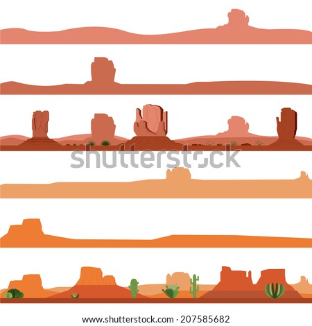 Set of America Desert Landscape  - stock vector