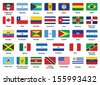 set of American countries flag icons with rounded corners - stock vector