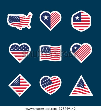 Set of American flag badges (8) - stock vector