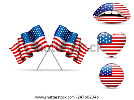 Set of American flags of different shapes - stock vector