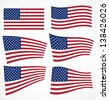 set of american flags. vector...