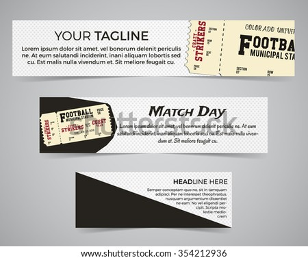 Set of American football banner template with soccer logo, label and badge. Stylish bright identity design. Best for sport magazines on web or print. Usa sports elements, ticket, typography. Vector.