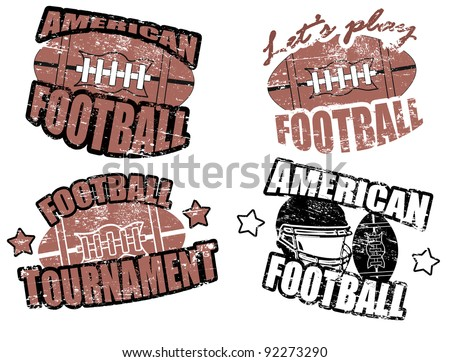 Set of american football grunge stamps, vector illustration - stock vector