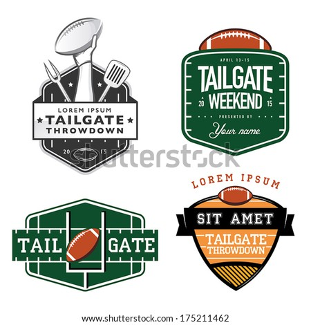 Set of American football tailgate party labels, badges and design elements - stock vector