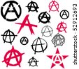Set of Anarchy symbol icon vector illustration - stock vector