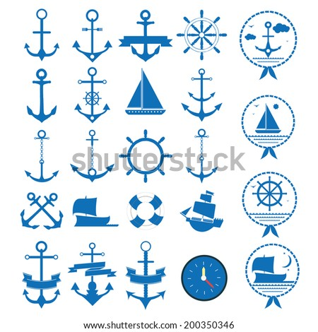 set of anchors and marine vector