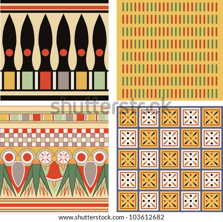 Set of ancient egyptian ornament, vector, seamless pattern - stock vector