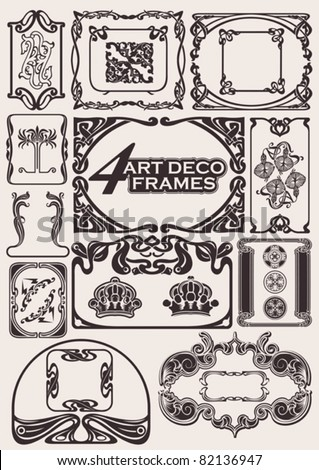 Set Of Ancient Frames In Art-Deco Style - stock vector