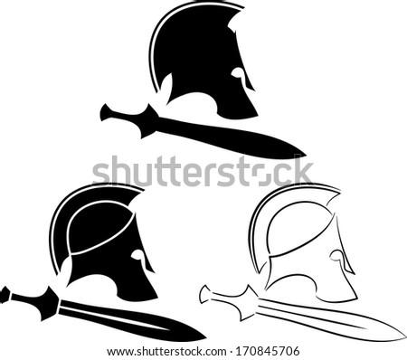 set of ancient helmets with swords. vector illustration - stock vector