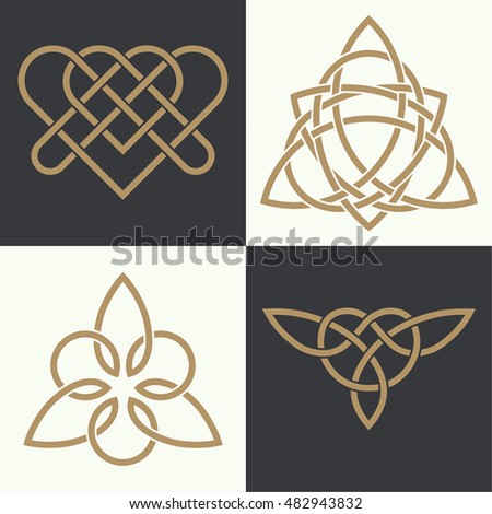 Set Ancient Symbols Executed Celtic Style Stock Vector Royalty Free