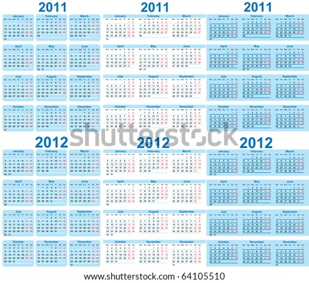 Set of 2011 and 2012 Calendar - stock vector