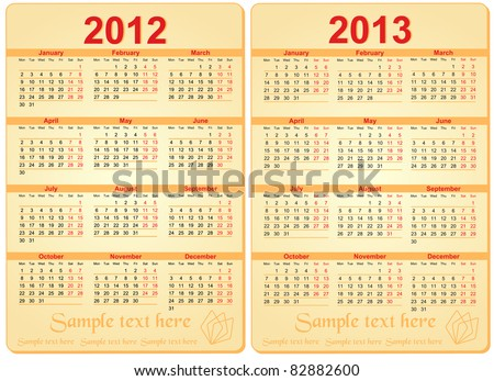 Set of 2012 and 2013 Calendar - stock vector