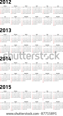 Set of 2012, 2013, 2014 and 2015 Calendar - stock vector