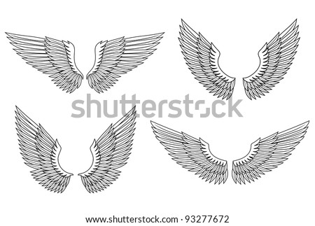 Set of angel wings for heraldry design. Vector illustration - stock vector