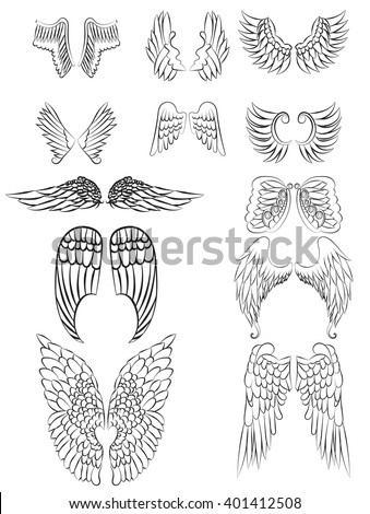 Set of angel wings line art with no fill