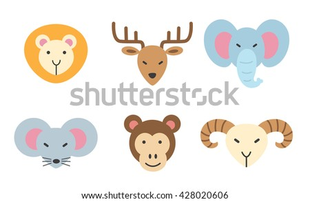 set of animal colorful icon.lion,deer,elephant, rat,monkey,goat - stock vector
