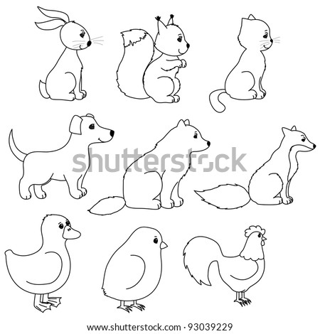 set of animal contours, like rabbit, squirrel, dog, cat, cock, wolf, fox, duck, chicken, line art, coloring - stock vector