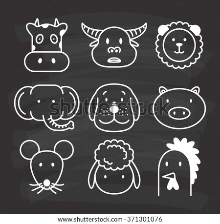 set of animal icon on chalkboard background - stock vector