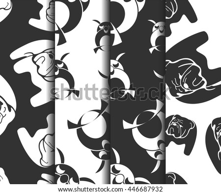 Set of animal monochrome vector seamless patterns. Bulldog and owl black and white cute backgrounds.