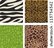 Set of 4 animal skin patterns - zebra, leopard,crocodile and giraffe - stock photo