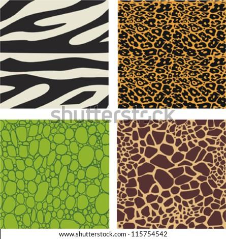 Set of 4 animal skin patterns - zebra, leopard,crocodile and giraffe - stock vector