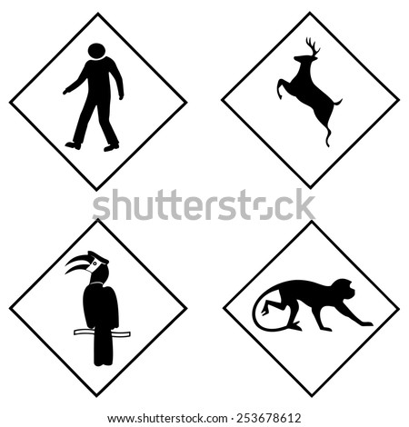 Set of animal symbol vector icon.  - stock vector