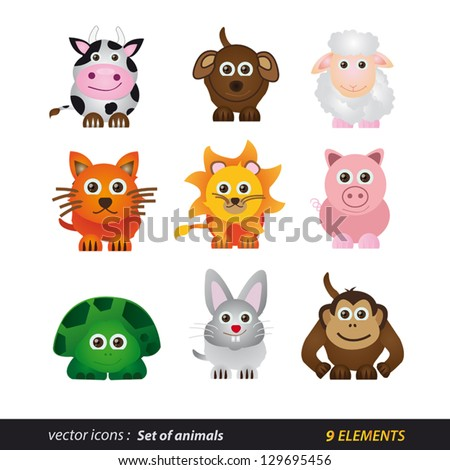 Set of animals. Cartoon and vector isolated - stock vector